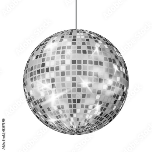Foto op Plexiglas Bol Silver Disco Ball Vector. Dance Night Club Retro Party Classic Light Element. Silver Mirror Ball. Disco Design. Isolated On White Background Illustration