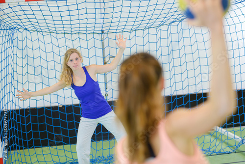 Woman defending handball goal