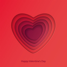 Red Hearts Cut Out Of Paper. Decorative Design Element, Holiday Decoration For Valentine's Day Card. Symbol Of Love. Vector Illustration
