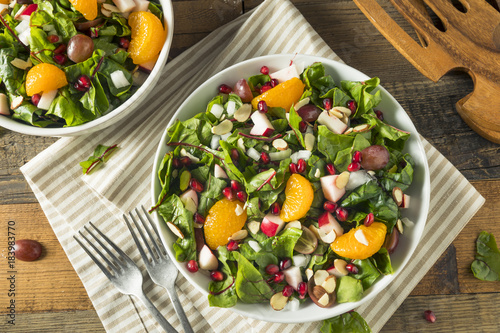 Fototapety, obrazy: Raw Organic Winter Chard Salad with Oranges