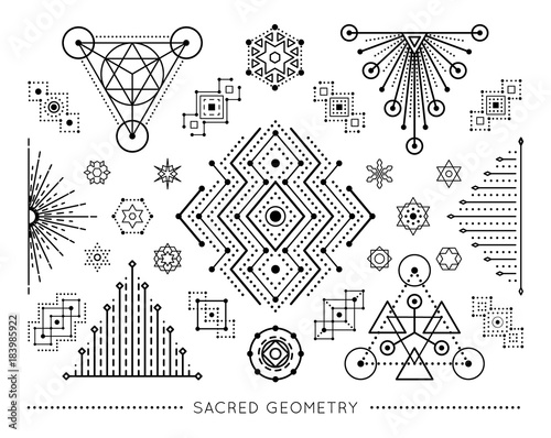 Sacred geometry style symbol set. Sacral geometric outline signs isolated on the white background. Line art elements. Editable stroke. Paths are not expanded. EPS 10 linear design vector illustration. Fototapete