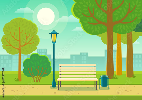Canvastavla Vector illustration of a beautiful summer city park with town building background, path, bench and street lamp