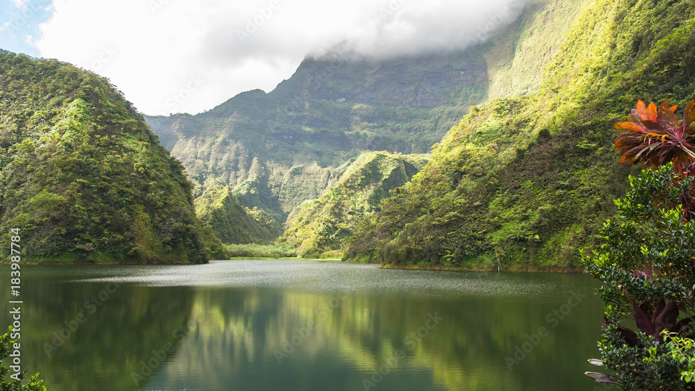 Fototapety, obrazy: Tahiti in French Polynesia, Vaihiria lake in the Papenoo valley in the mountains, luxuriant bushy vegetation