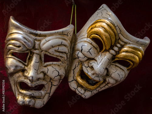 Fotografie, Obraz tragedy and comedy, view of two carnival mask of venice