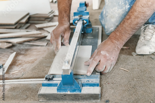 Tile Cutting Worker Working With Floor Tile Cutting Buy This Stock