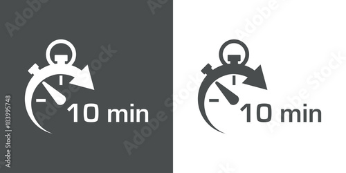 Cuadros en Lienzo  Icono plano cronometro con 10 min gris y blanco