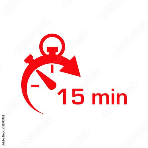 Fotografía  Icono plano cronometro con 15 min rojo en fondo blanco