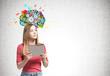 Blonde woman with a folder, cog brain