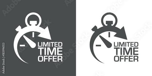 Cuadros en Lienzo Icono plano cronometro LIMITED TIME OFFER gris y blanco