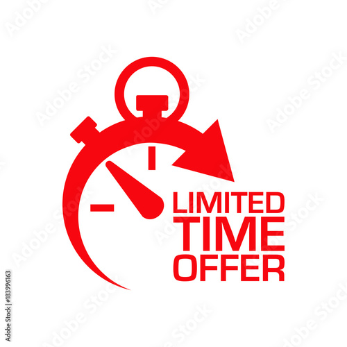 Fototapeta Icono plano cronometro LIMITED TIME OFFER rojo en fondo blanco