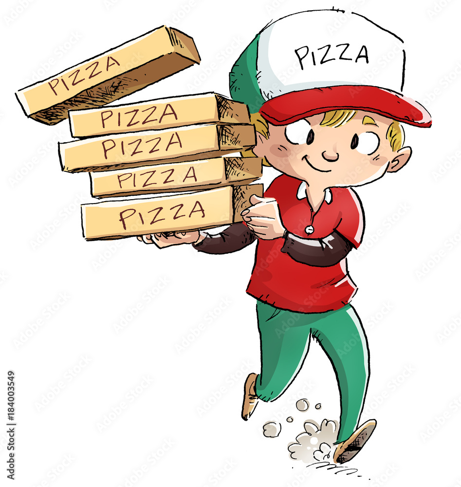 niño repartidor de pizza