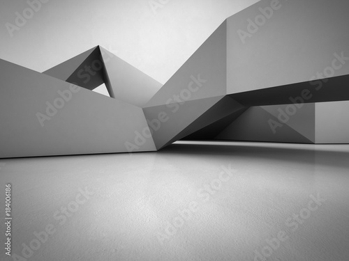 Foto  Geometric shapes structure on concrete floor with empty gray wall background in