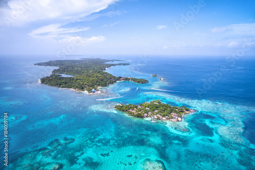 Rosario Islands in Cartagena de Indias, Colombia, aerial view.