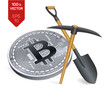 Bitcoin mining concept. 3D isometric Physical bit coin with pickaxe and shovel. Digital currency. Cryptocurrency. Silver coin with bitcoin symbol isolated on white background. Vector illustration.