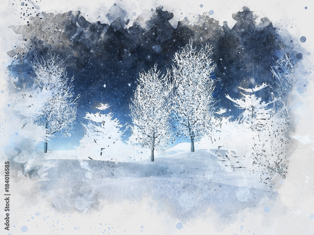 Watercolour painting of a winter landscape