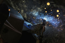 Mig Welding Torch With Sparks And Smoke