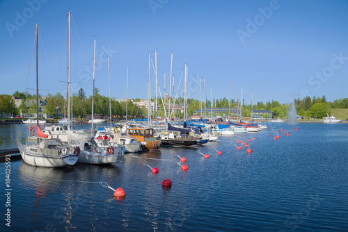 In de dag Noord Europa Sunny June day in the harbor of Lappeenranta. Finland