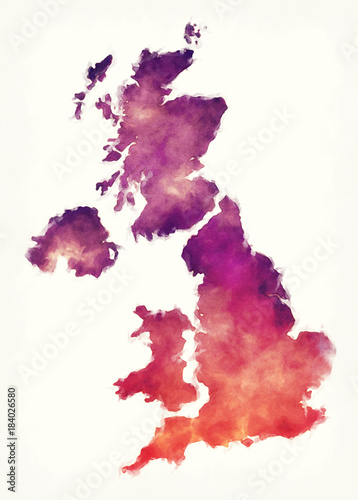 United Kingdom watercolor map in front of a white background Canvas Print