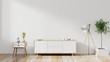 Leinwanddruck Bild - shelf tv in modern empty room,minimal design, 3d rendering