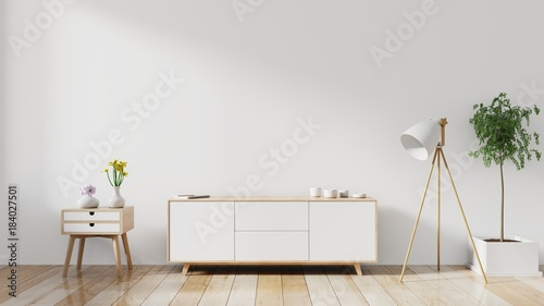 Fotografia, Obraz  shelf tv in modern empty room,minimal design, 3d rendering