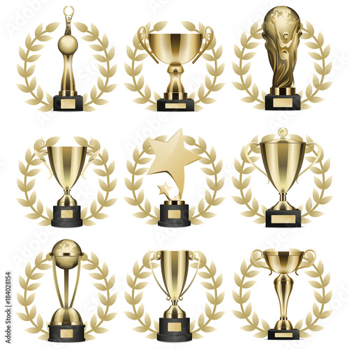 Golden Trophy Cups Realistic Vector Collection Wall mural