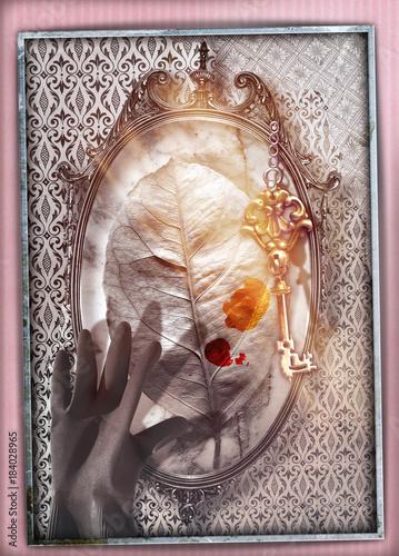 Poster Imagination Paese delle meraviglie.Specchio magico e stregato con foglia,mano e chiave d'oro