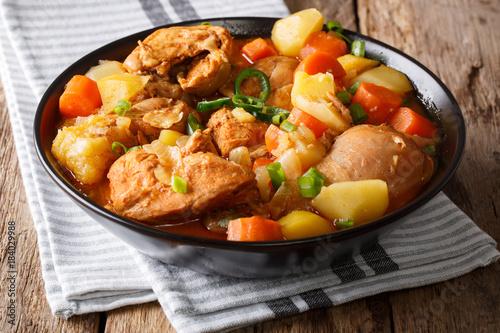 Korean Dakdoritang chicken stew close-up on a plate. horizontal
