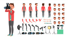 Photographer Vector. Taking Pictures. Animated Man Character Creation Set. Full Length, Front, Side, Back View, Accessories, Poses, Face Emotions, Gestures. Isolated Flat Cartoon Illustration