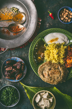 Indian Food, Various Dinner Meals In Bowls On Dark Rustic Background, Top View