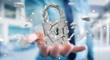 canvas print picture Businessman hacking in broken padlock security 3D rendering