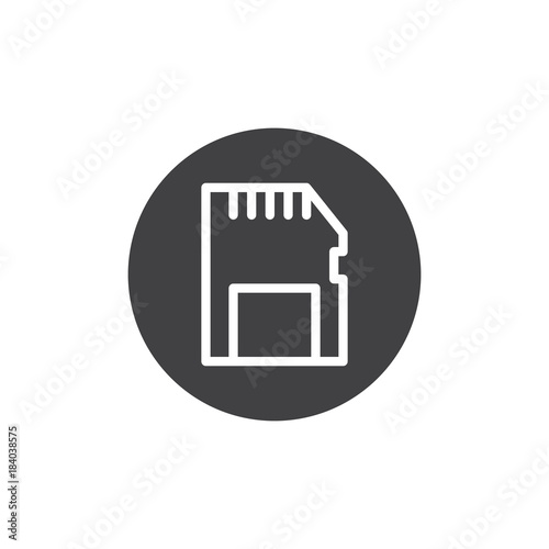 Memory Card Icon Vector Filled Flat Sign Solid Pictogram Isolated