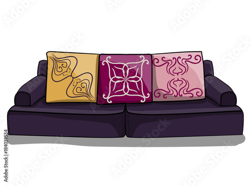 Large dark purple low sofa with lilac and yellow pillows in ...