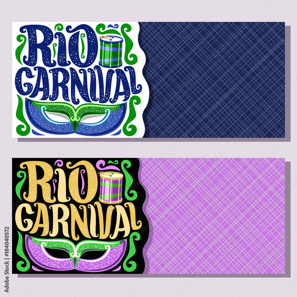 Vector Banners For Rio Carnival Invite Tickets With Brazilian Mask
