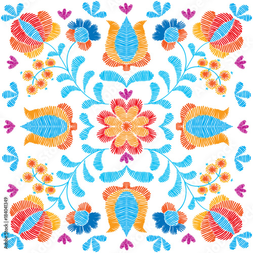7cfcd596e9bc Embroidery floral pattern, decorative textile ornament, pillow or ...
