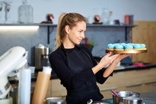 Confectioner Pastry Woman Hold...