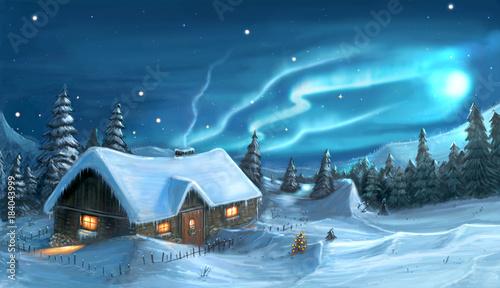 Foto op Aluminium Nachtblauw Digital Painting of Snowy Winter Christmas Night Cottage