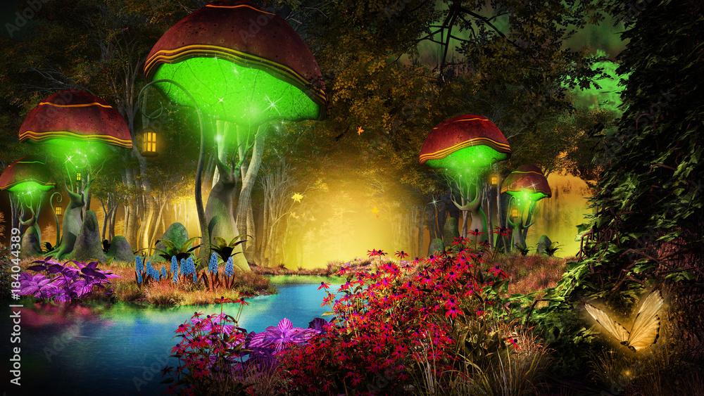 Fototapeta Fantasy mushrooms in the forest