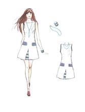 Fashion Illustration Girl Dresses On White Background