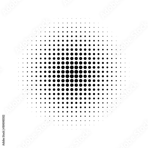 Halftone effect isolated on white background. Halftone dots pattern. Radial gradient. Vector Wall mural