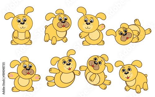 A set of cute yellow dogs, a symbol of the Chinese New Year. Vector illustration. #184048735