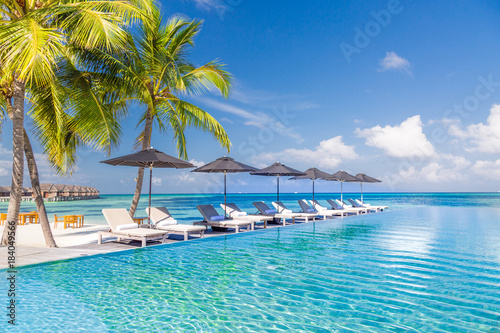 Luxury Beach Scene With Sun Chairs And Loungers The Blue Sea In Background