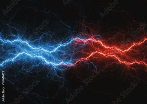 Fite and ice lightning bolt, abstract plasma and power background Canvas Print