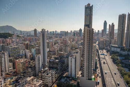 Foto op Aluminium New York Ausblick auf die Häuser von Kowloon, Hong Kong.