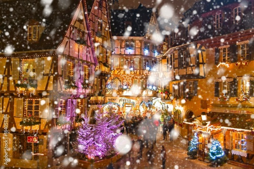 Colmar Christmas Market.Christmas Market Under The Snow In Colmar Alsace France
