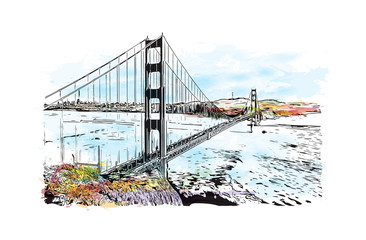FototapetaWatercolor splash with sketch of Golden Gate, San Francisco, California, USA. in vector illustration.
