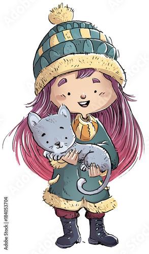 Photo niña con su gato en invierno
