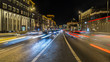night traffic on the urban thoroughfare and road junction