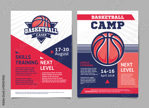 basketball camp posters flyer with basketball ball template