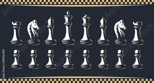 Chess figure set - vector illustration, on a dark background Canvas Print
