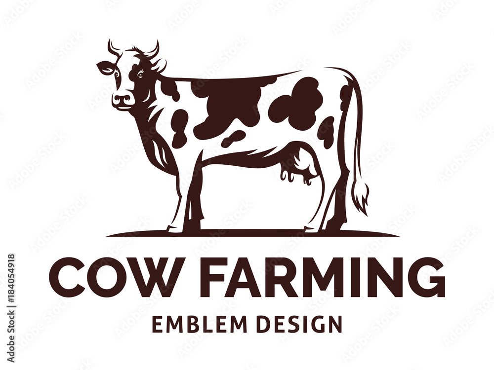 Fototapeta Figure of a cow with horns standing on the ground - farming emblem, logo design, illustration